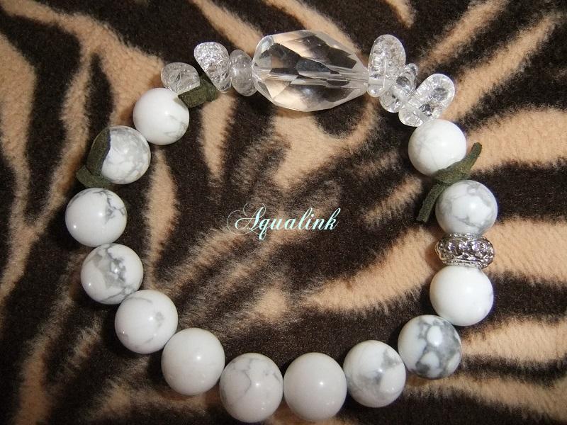 クリスタル(天然水晶)とハウライトのブレス ~ターザン~純粋