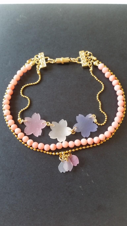 桜をブレスレットに仕上げました