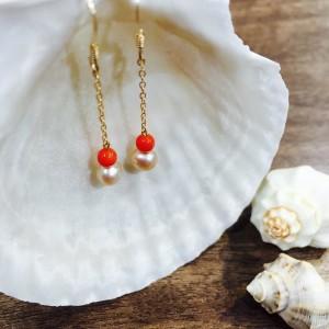 赤珊瑚(レッドコーラル)のピアス